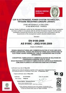 Certificat EN 9100 - GROUPE LINVEST